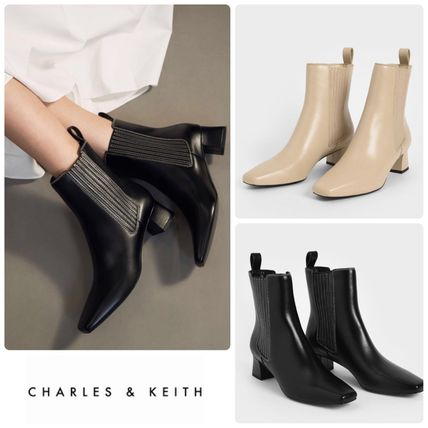 ★CHARLES&KEITH★Stitch Trim Ankle Boots ブーツ/送料込