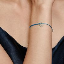 HYERES LOR(イエールロール) ブレスレット [HYERES LOR] Name Silver Tag-dorp String Bracelet Cafri blue