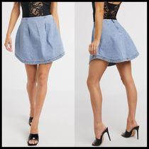 ASOS DESIGN denim blue structured a-line skirt