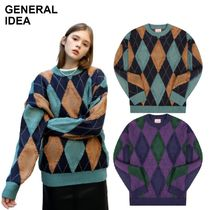 【GENERAL IDEA】RETRO ARGYLE OVERFIT KNIT ニット 2色