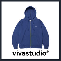 [VIVASTUDIO]UNISEX★BASIC LOGO HOODIE ZIP UP JA[indigo blue]