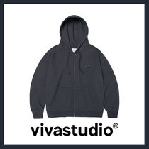 [VIVASTUDIO]UNISEX★BASIC LOGO HOODIE ZIP UP JA[dark grey]