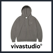 [VIVASTUDIO]UNISEX★BASIC LOGO HOODIE ZIP UP JA[brown]