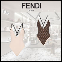 FENDI ONE-PIECE SWIMSUIT Pink Lycra and FF swimsuit