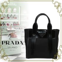 【PRADA  VIPSALE!!】PRADA LEATHE AND NYLON SHOPPING TOTE BAG