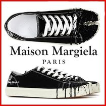 ◆Maison Margiela◆BLACK Tabi Painting Canvas Sneakers◆
