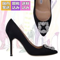 送料関税込☆MANOLO BLAHNIK HANGISI Satin Jewel Buckle Pumps