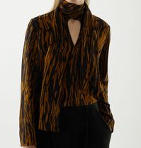 """COS"" MULBERRY SILK PRINTED BOW DETAIL TOP BLACK/BROWN"