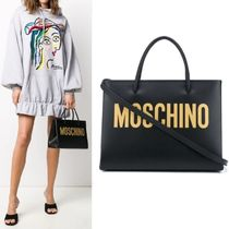 【Moschino】Logo Print Small Tote 2WAY ブラック×ゴールド