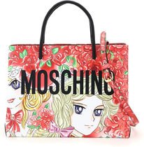 MOSCHINO☆MARIE ANTOINETTE LEATHER TOTE BAG LADY OSCAR PRINT