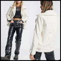 ASOS Miss Selfridge faux leather longline aviator jacket