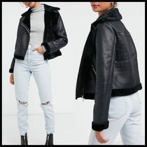 ASOS Miss Selfridge faux leather aviator jacket