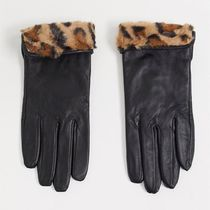 ASOS Accessorize leather gloves with faux fur leopard trim
