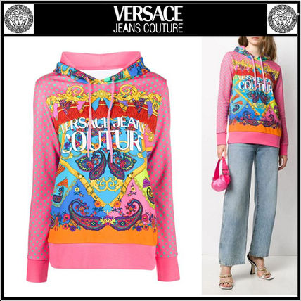 VERSACE JEANS COUTURE ロゴ 水玉 ペイズリー プリント パーカー