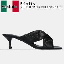 PRADA QUILTED NAPPA MULE SANDALS