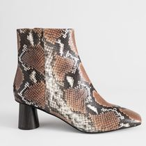 """""""& Other Stories"""" Wooden Heel Snake Ankle Boots Brown"""