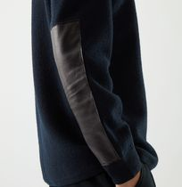 """COS MEN"" MERINO WOOL JUMPER WITH LEATHER DETAIL NAVY"