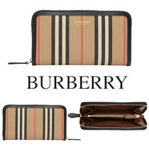 BURBERRY Icon Stripe E-canvas Round-Zip Continental Wallet