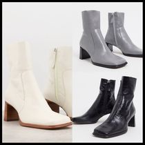 ASOS DESIGN Roisin premium leather square toe boots