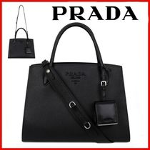 ◆PRADA◆Black Monochrome Saffiano Tote Shoulder Bag◆正規品