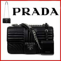 ◆PRADA◆BLACK LEATHER MEDIUM DIAGRAMME SHOULDER BAG◆正規品