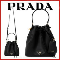 ◆PRADA◆Black saffiano triangle logo bucket bag◆正規品◆