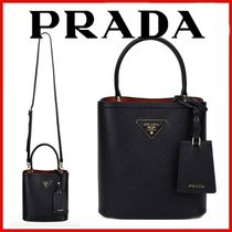 ◆PRADA◆Black Pannier Saffiano Small Bucket Bag◆正規品◆