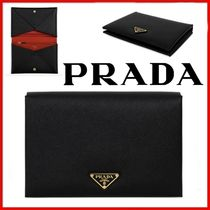 ◆PRADA◆Black saffiano triangle logo clutch bag◆正規品◆