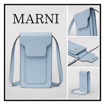 MARNI☆PHONE HOLDER IN SAFFIANO CALFSKIN FOR NECK Light blue