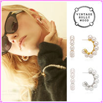 【VINTAGE HOLLYWOOD】Pearly Hoop Earring(Big Size)〜ピアス
