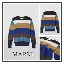 MARNI STRIPED CREWNECK SWEATER IN WOOL AND MOHAIR ストライプ
