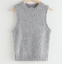 """""""& Other Stories"""" Fuzzy Scallop Knit Vest Gray"""