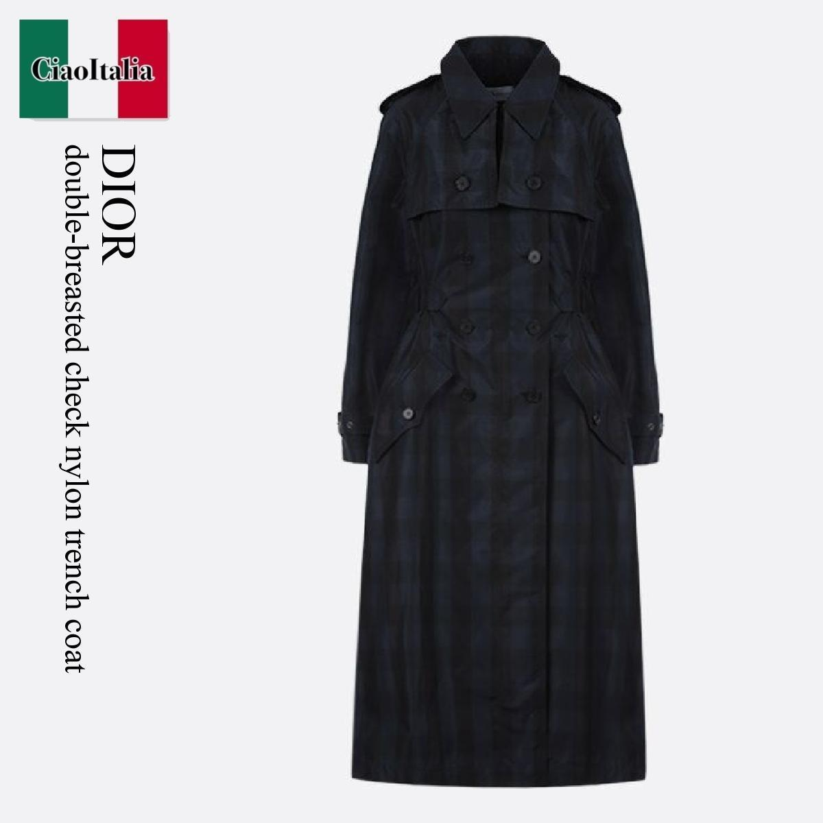 Dior double-breasted check nylon trench coat (Dior/トレンチコート) DOUBLE-BREASTED CHECK NYLON TRENCH COAT  047M55A28545  047M55A28545 871