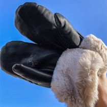 ASOS Pieces leather mittens with faux fur cuffs