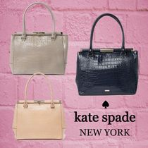 ★SALE☆【kate spade】クロコ エンボスレザー トートバッグ
