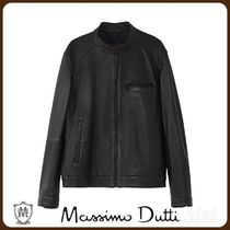 MassimoDutti♪BLACK LEATHER JACKET WITH CUTWORK DETAILS