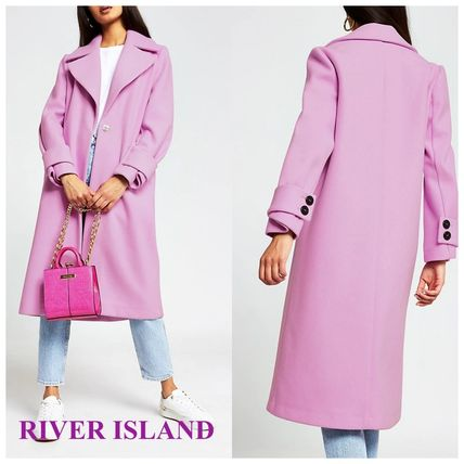 RIVER ISLAND カフディテールロングコート/ピンク