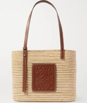 ★LOEWE★SMALL LEATHER-TRIMMED WOVEN RAFFIA TOTE