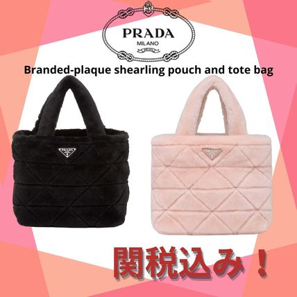 PRADA☆Branded-plaque shearling pouch and tote bag☆関税込み