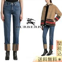 【BURBERRY】 STRAIGHT FIT STRIPED CUFF WASHED JEANS