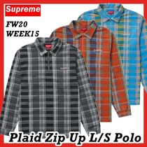 Supreme Plaid Zip Up LS Polo Shirt FW AW 20 WEEK 15