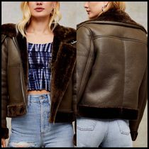 Topshop faux leather aviator jacket in olive