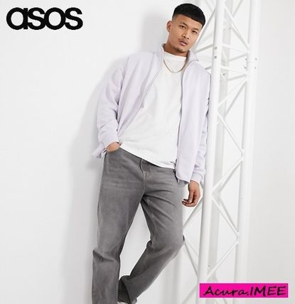 関送込#ASOS DESIGN oversized track jacket in purple