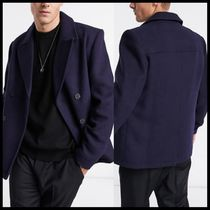ASOS DESIGN wool mix double breasted peacoat