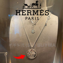 HERMES エルメス White Gold Medal Necklace ネックレス