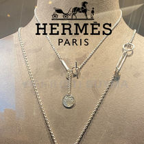 HERMES エルメス White Gold Medal Necklace Small ネックレス