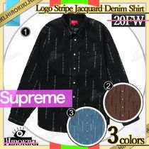 20FW /Supreme Logo Stripe Jacquard Denim Shirt デニム シャツ
