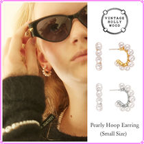 【VINTAGE HOLLYWOOD】Pearly Hoop Earring(Small Size)〜ピアス