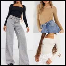 ASOS DESIGN ribbed jumper with open square neck