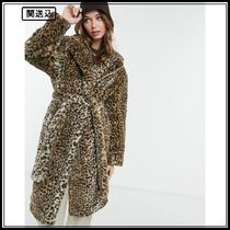 New Look longline belted faux fur coat in animal print